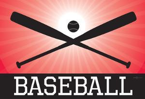 Baseball Red Sports Poster Print
