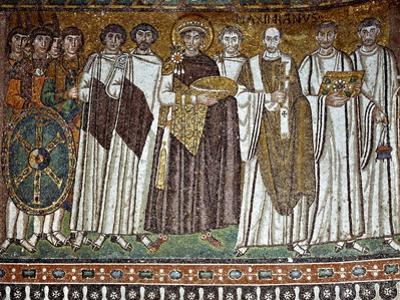 Basilica of San Vitale, Presbytery with Mosaic of Emperor Justinian, 6th c. Ravenna, Italy.