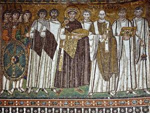 Basilica of San Vitale, Presbytery with Mosaic of Emperor Justinian, 6th c. Ravenna, Italy.