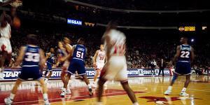 Basketball match in progress, Chicago Bulls, Chicago Stadium, Chicago, Cook County, Illinois, USA