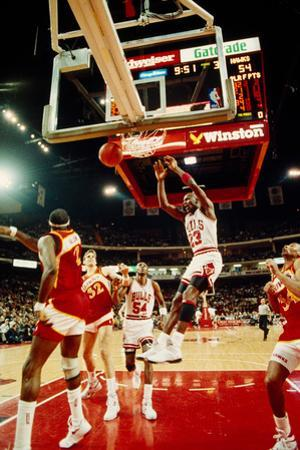 Basketball match in progress, Michael Jordan, Chicago Bulls, United Center, Chicago, Cook County...