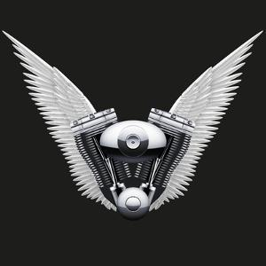 Symbol of Motorcycle Engine with White Open Wings by Batareykin