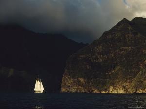 A Schooner Enters the Harbor in Virgins Bay by Bates Littlehales