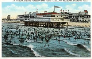 Bath House and Beach, Galveston, Texas