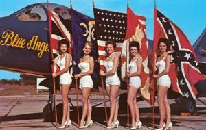 Bathing Beauties with Flags and Blue Angel Jet