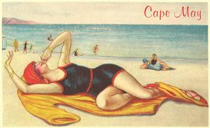 Bathing Beauty Vamping on Beach, Cape May, New Jersey