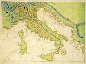 Italy, from an Atlas of the World in 33 Maps, Venice, 1st September 1553 by Battista Agnese