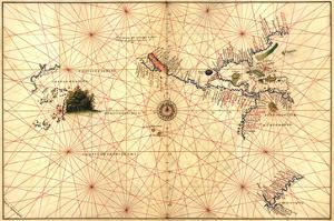 Portolan Map of Western Hemisphere Showing What Will Become the US, Panama and South America by Battista Agnese