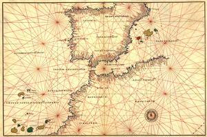 Portolan or Navigational Map of the Spain, Gibraltar and North Africa by Battista Agnese