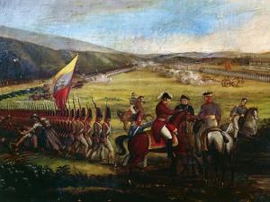 Battle at Calibio Hacienda, January 5, 1814, Painting by Jose Maria Espinosa