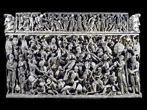 Battle Scene between Roman and Barbarians Warriors during the Ma