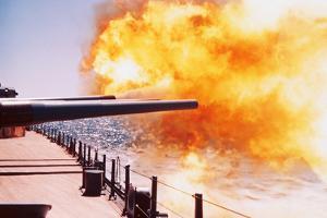 Battleship Firing Guns