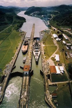 Battleship Passing through Panama Canal