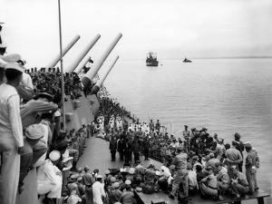Battleship Uss Missouri with Surrendering Japanese on Deck