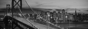 Bay Bridge Illuminated at Night, San Francisco, California, USA