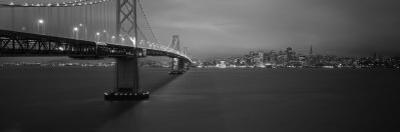 Bay Bridge Lit Up at Night, San Francisco, California, USA