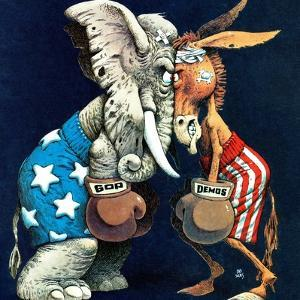 """Democrats vs. Republicans,"" July/Aug 1980 by BB Sams"