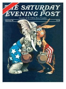 """Democrats vs. Republicans,"" Saturday Evening Post Cover, July/Aug 1980 by BB Sams"