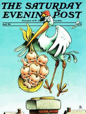 """Stork and Quints,"" Saturday Evening Post Cover, April 1, 1984 by BB Sams"