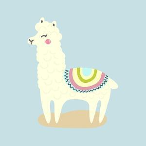 Vector Cute Llama or Alpaca Illustration. Funny Animal by bbgreg