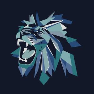 Vector Illustration of Geometric Lion Head on Dark Background. by bbgreg