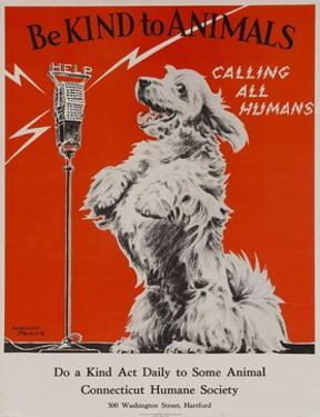 Be Kind to Animals, Calling All Humans, Humane Society Poster