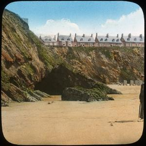 Beach and Cliffs, Newquay, Cornwall, Late 19th or Early 20th Century
