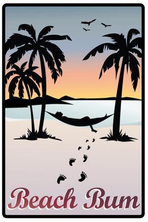 Beach Bum Hammock Between Palm Trees Art Print Poster