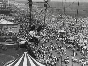 Beach Crowds as Seen from the Parachute Jump at Steeple Park, Coney Island, NY, 1950