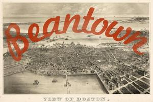 Beantown - 1870, Boston Bird's Eye View on July 4th, Massachusetts, United States Map