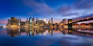 New York City - Beautiful Sunrise over Manhattan with Manhattan and Brooklyn Bridge Usa by Beatrice Preve