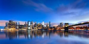 New York City - Beautiful Sunrise over Manhattan with Manhattan and Brooklyn Bridge Usa by Beatrice Preve