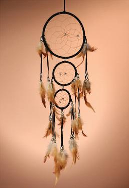 Beautiful Dream Catcher On Brown Background