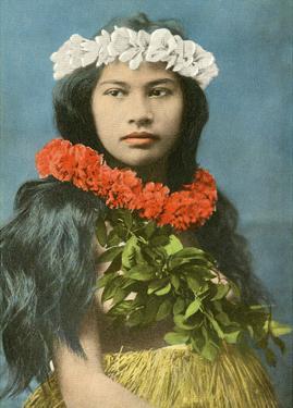 Beautiful Hawaiian Girl with Flower Leis