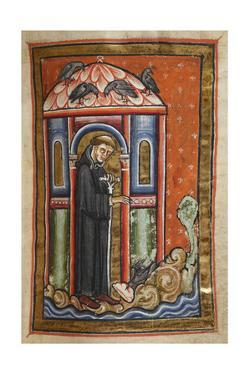 Miniature Of a Crow Bringing Lard To Cuthbert by Bede