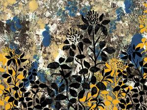 Floral Pattern Blues Yellows Black by Bee Sturgis
