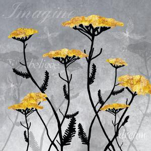 Golden Yarrow Flowers on Gray Background with Inspirational Words by Bee Sturgis