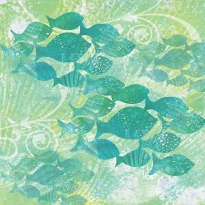 Green Ocean Teal School of Fish by Bee Sturgis