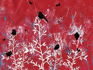 Red Painted Texture background with White Floral and Black Birds and Butterflies by Bee Sturgis