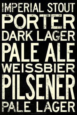 Beer Types and Styles Plastic Sign