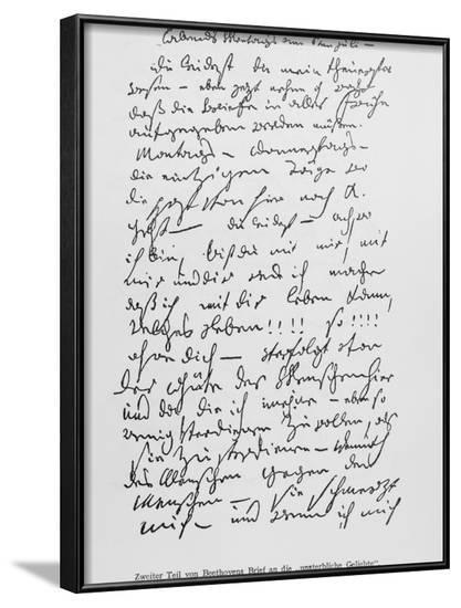 Beethoven's Immortal Beloved Letter--Framed Photographic Print