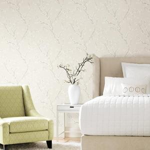 Beige Cherry Blossom Peel & Stick Wallpaper