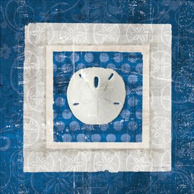 Sea Shell I on Blue by Belinda Aldrich