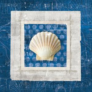 Sea Shell III on Blue by Belinda Aldrich