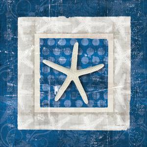 Sea Shell IV on Blue by Belinda Aldrich