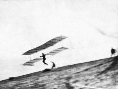 View of a Biplane Glider Taking Flight