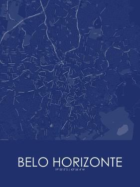 Belo Horizonte, Brazil Blue Map