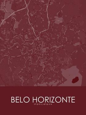 Belo Horizonte, Brazil Red Map