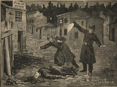 A Street in Whitechapel: the Last Crime of Jack the Ripper, from 'Le Petit Parisien', 1891 by Beltrand and Clair-Guyot Dete