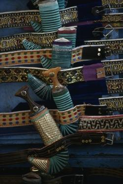 Belts and Sheaths for Daggers on Display in Shop, Sana'A, Yemen